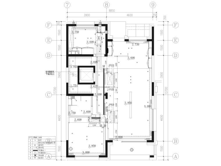 [北京]390㎡二层三居联排别墅施工图+3D模型-一层空调新风尺寸图