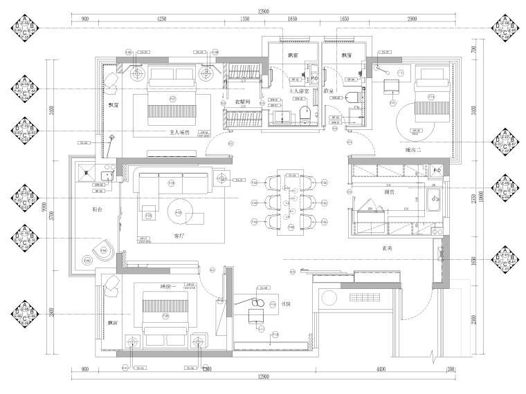 [杭州]125㎡三居家装样板房室内装修施工图-立面索引图