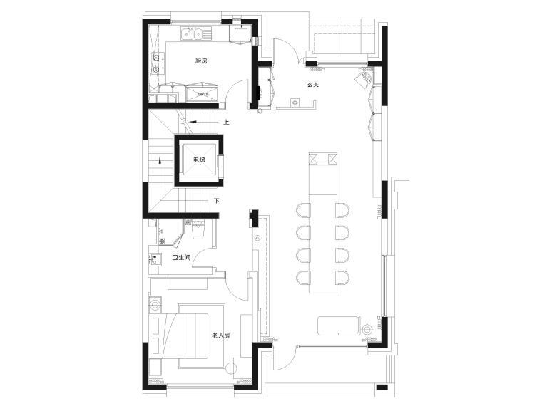 [北京]390㎡二层三居联排别墅施工图+3D模型-一层给排水点位图