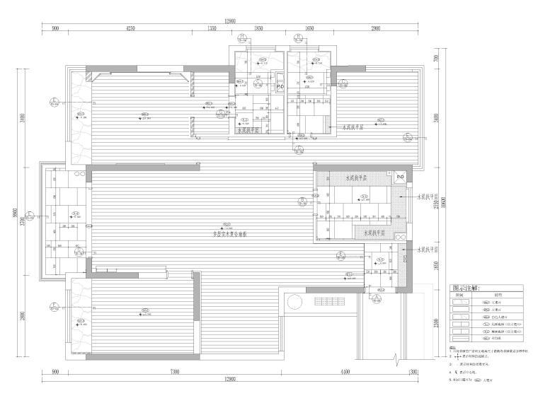 [杭州]125㎡三居家装样板房室内装修施工图-地面铺装图
