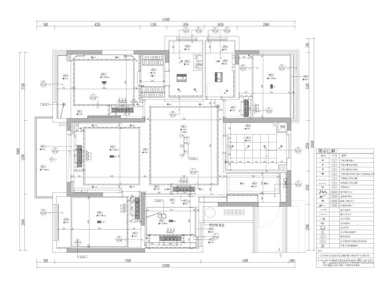 [杭州]125㎡三居家装样板房室内装修施工图-天花布置图