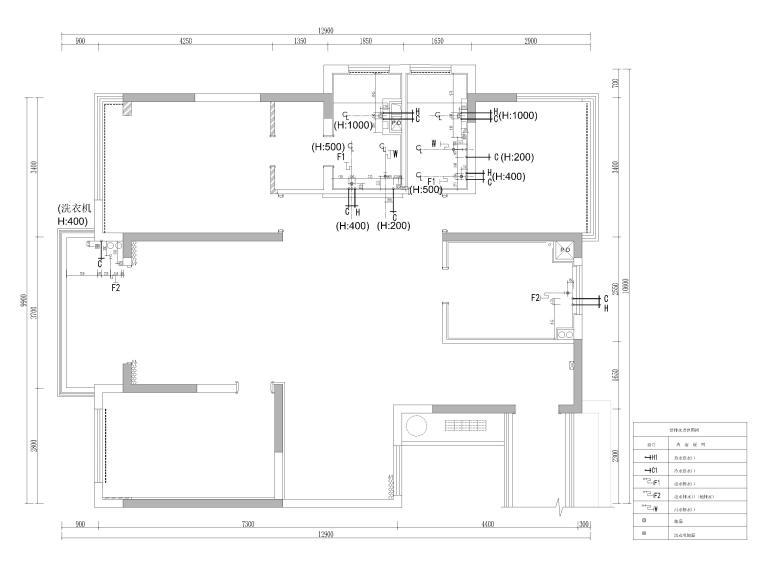 [杭州]125㎡三居家装样板房室内装修施工图-给排水定位图