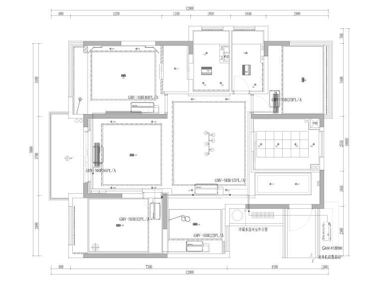 [杭州]125㎡三居家装样板房室内装修施工图-暖通定位图