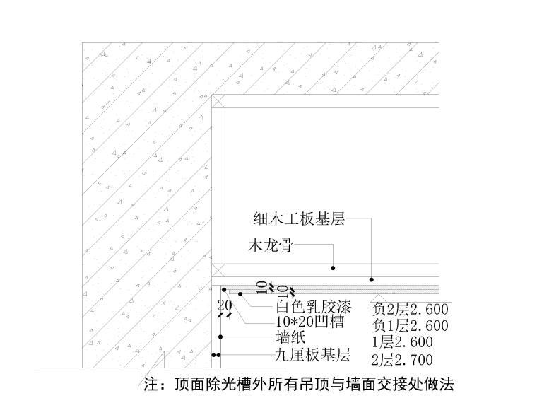 [北京]390㎡二层三居联排别墅施工图+3D模型-天花节点详图