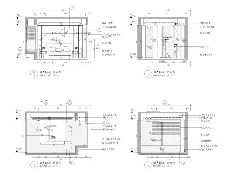 [杭州]125㎡三居家装样板房室内装修施工图-主卧立面图