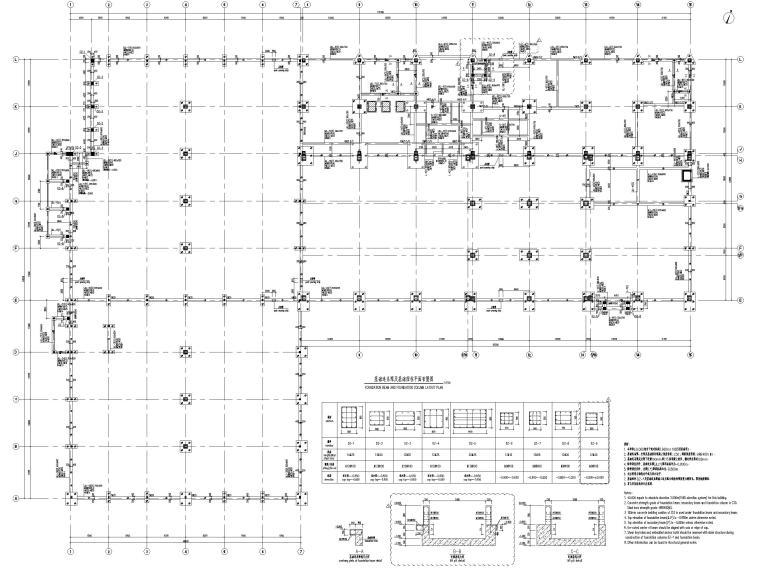 [太仓]2层钢结构汽车车间全套施工图2019-基础连系梁及基础短柱平面布置图
