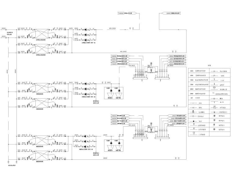 [吉林]五星级酒店采暖通风空调设计施工图纸-空调热源系统原理图