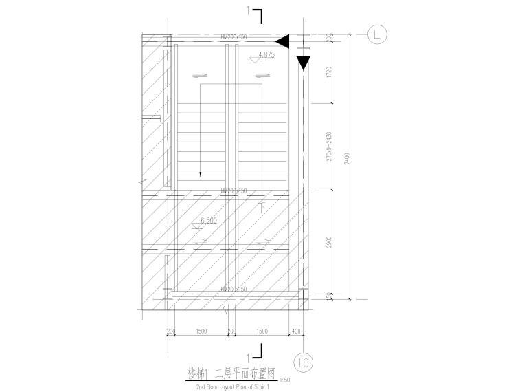 [太仓]2层钢结构汽车车间全套施工图2019-钢结构楼梯平面图
