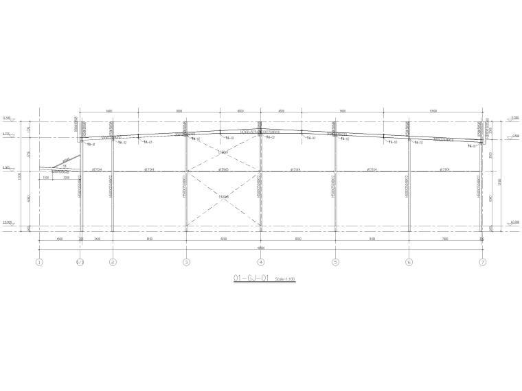 [太仓]2层钢结构汽车车间全套施工图2019-刚架剖面图
