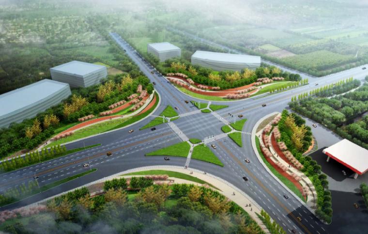 [江苏]宜兴科技工业园道路景观规划方案-绿园路104国道效果图
