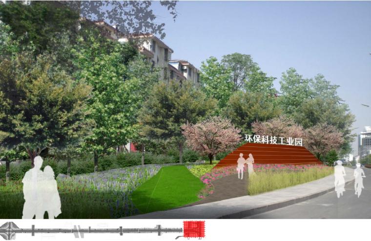 [江苏]宜兴科技工业园道路景观规划方案-绿园路- 氿滨大道节点效果图