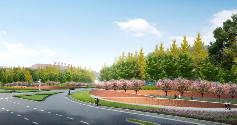 [江苏]宜兴科技工业园道路景观规划方案-绿园路-104国道人视图一