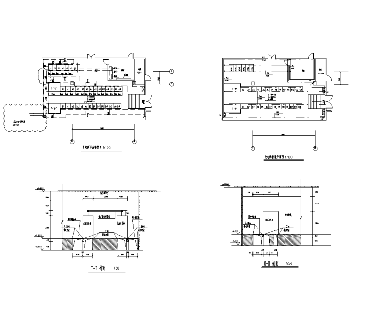 大院 大型金融中心全专业初步设计施工图-变电所平面布置、剖面图及接地图