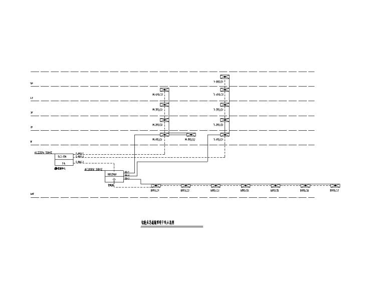 大院 大型金融中心全专业初步设计施工图-智能应急疏散照明干线示意图