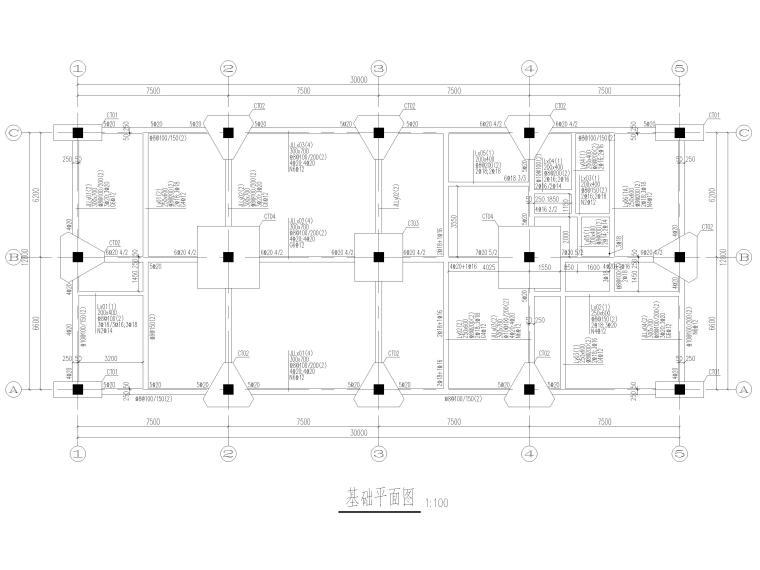 [上海]2层框架结构医学研发中心结施图2017-基础平面图
