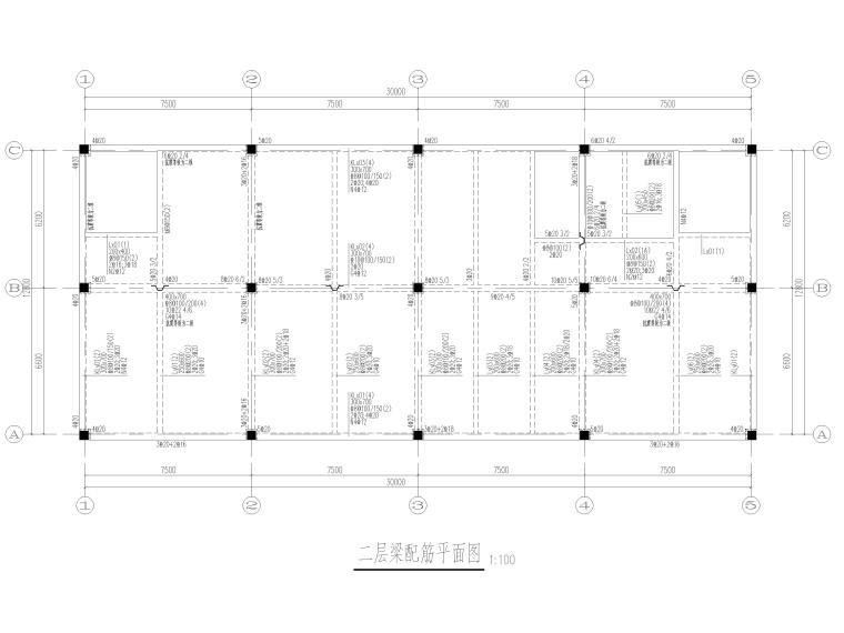 [上海]2层框架结构医学研发中心结施图2017-梁配筋平面图