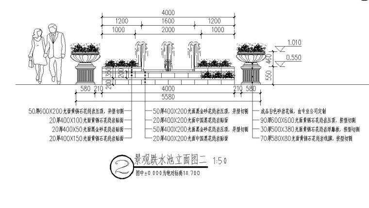 经典景观跌水池做法详图设计 (3)