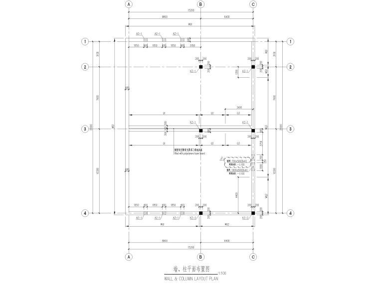 [太仓]单层框架结构消防泵房及水池结施2019-墙柱平面布置图