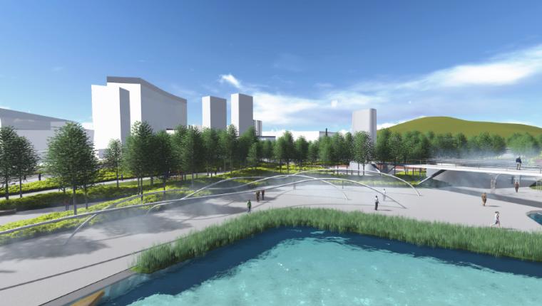 [长沙]休闲活力市民公园景观设计方案-中轴线水岸效果图