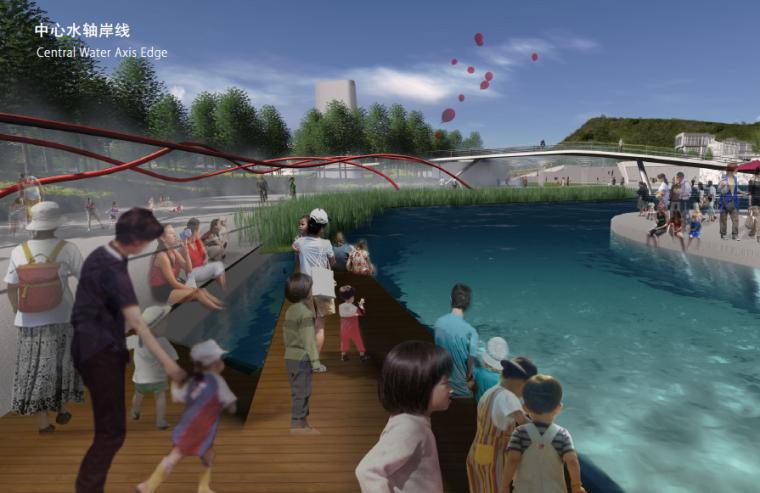 [长沙]休闲活力市民公园景观设计方案-中心水轴岸线效果图