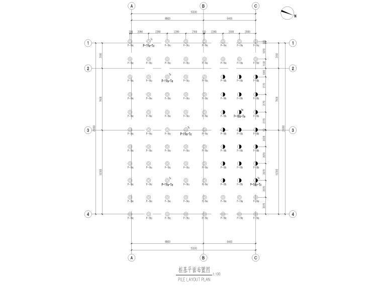 [太仓]单层框架结构消防泵房及水池结施2019-桩基平面布置图