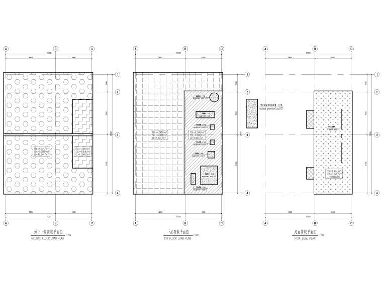 [太仓]单层框架结构消防泵房及水池结施2019-荷载平面图