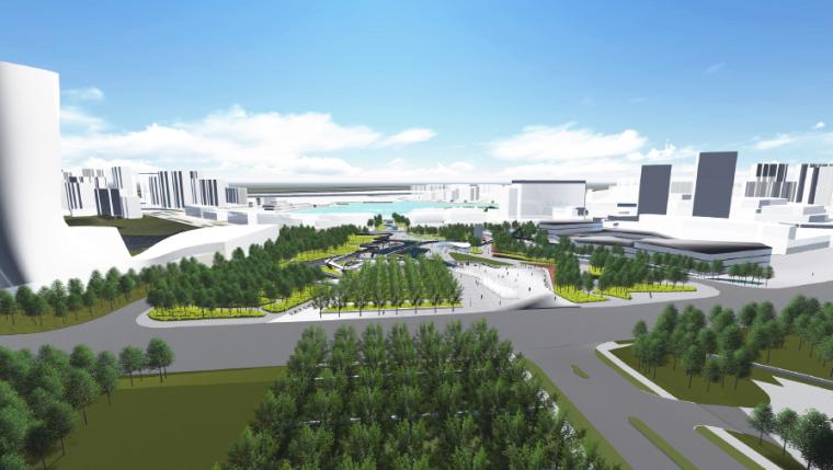 [长沙]休闲活力市民公园景观设计方案-旅游中心望向中轴线市民公园效果图