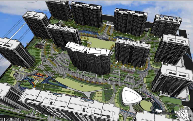 知名企业现代风格未来悦大区景观su模型设计 (2)