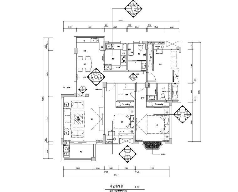 [江西]混搭中式风格116㎡住宅装修施工图-01 平面布置图