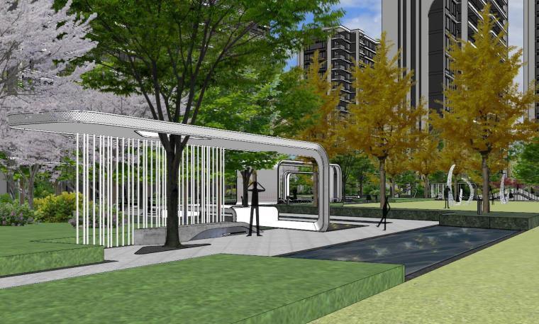 知名企业现代风格未来悦大区景观su模型设计 (4)