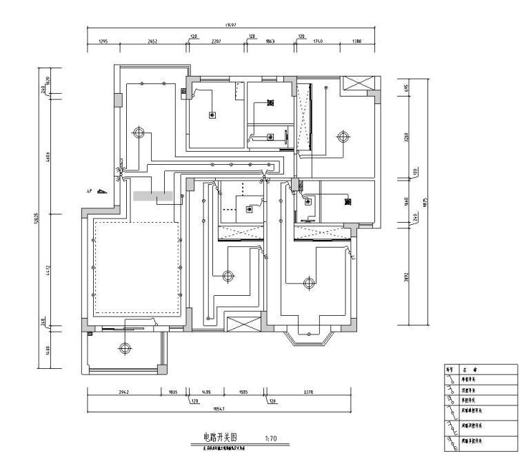 [江西]混搭中式风格116㎡住宅装修施工图-电路开关图