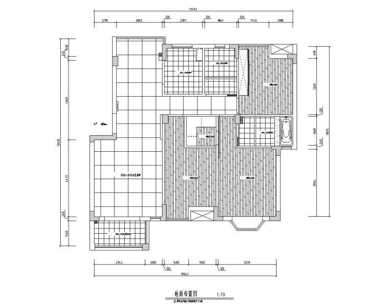 [江西]混搭中式风格116㎡住宅装修施工图-地面布置图