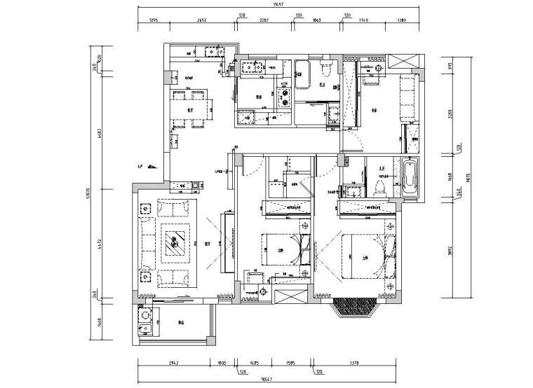 [江西]混搭中式风格116㎡住宅装修施工图-家具尺寸图
