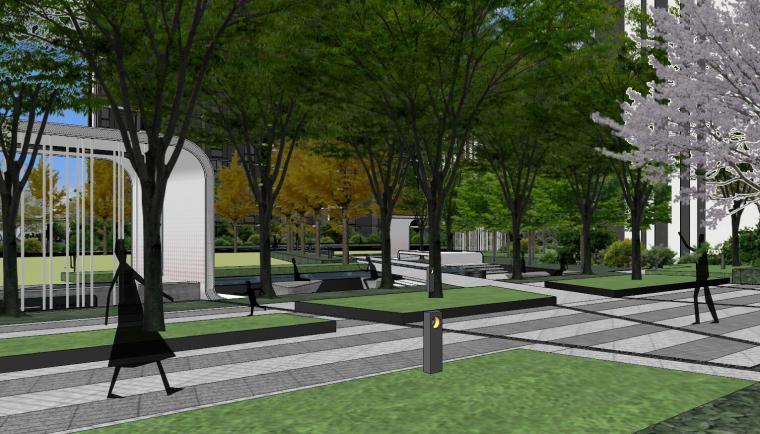 知名企业现代风格未来悦大区景观su模型设计 (5)
