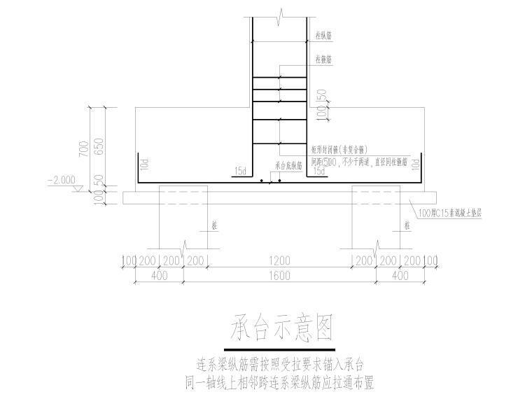 [上海]2层框架结构医学研发中心结施图2017-承台示意图