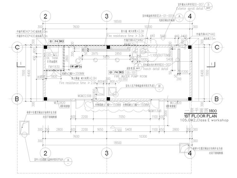 [太仓]单层框架结构消防泵房及水池结施2019-建筑平面图