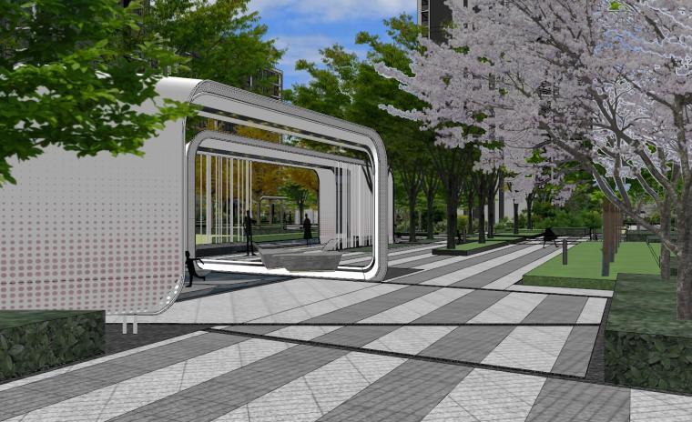 知名企业现代风格未来悦大区景观su模型设计 (7)