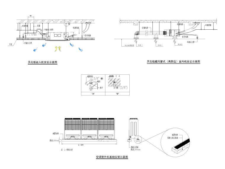 [南京]十二层科研中心多联机通风系统设计图-多联式空调室内机、室外机安装示意图