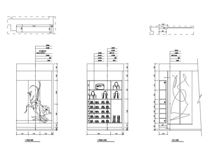 满庭芳中式风格三居室住宅装修施工图设计-立面图