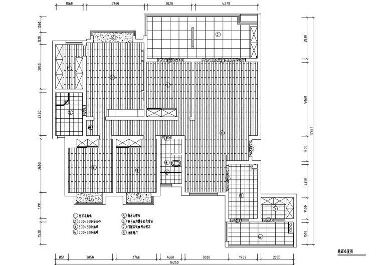 满庭芳中式风格三居室住宅装修施工图设计-01 地面布置图