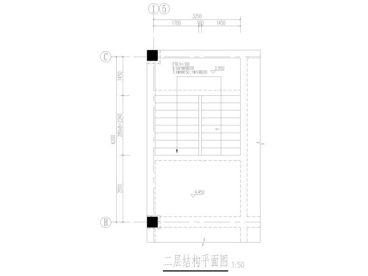 [上海]2层框架结构医学研发中心结施图2017-楼梯结构平面图