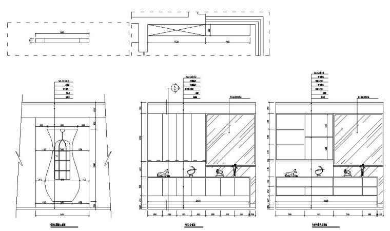 满庭芳中式风格三居室住宅装修施工图设计-立面图4