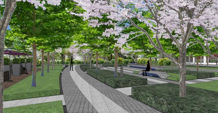 知名企业现代风格未来悦大区景观su模型设计 (15)