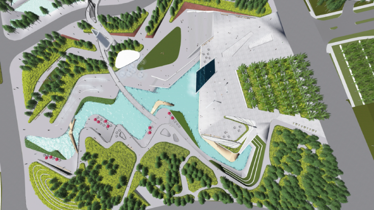 [长沙]休闲活力市民公园景观设计方案-鸟瞰图