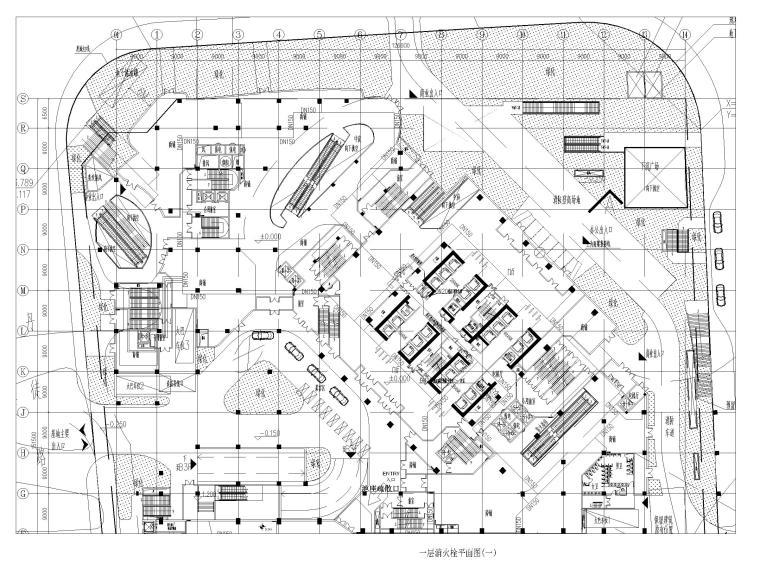 [上海]超高层办公_剧场给排水消防设计图-一层消火栓平面图(一)