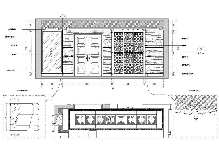[福建]水岸名居现代风格住宅装修施工图设计-电梯间立面图