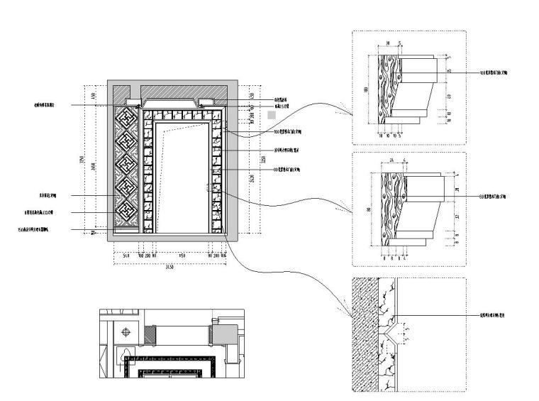 [福建]水岸名居现代风格住宅装修施工图设计-过道立面图1