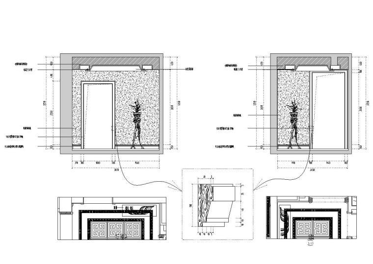 [福建]水岸名居现代风格住宅装修施工图设计-过道立面图2