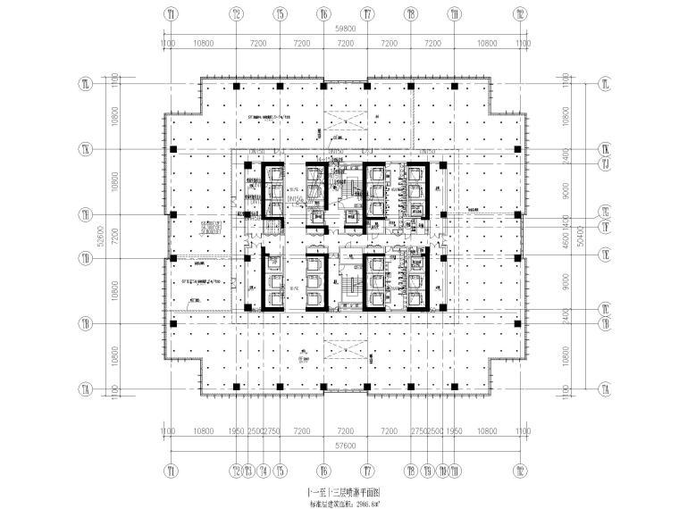 [上海]超高层办公_剧场给排水消防设计图-十一至十三层喷淋平面图