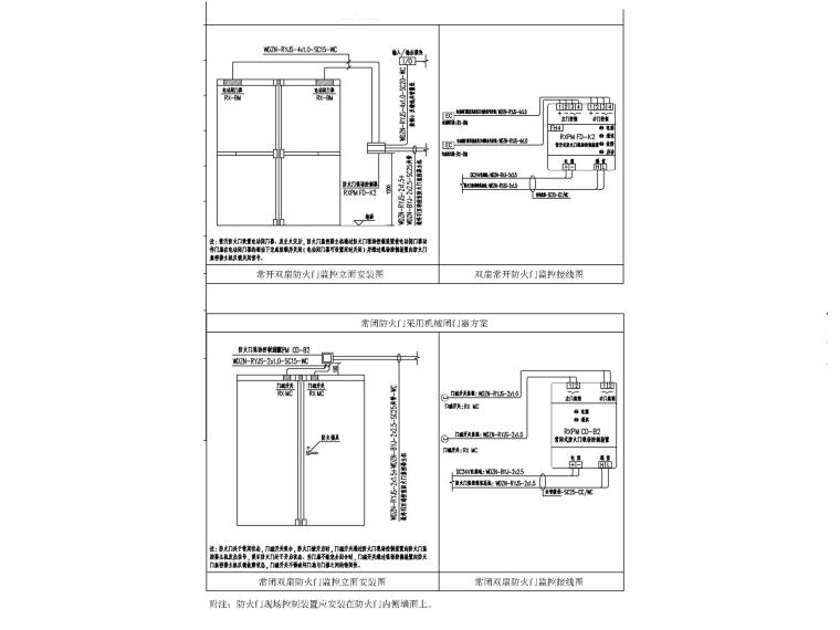 [宁夏]党校综合楼消防及弱电专项图纸-10防火门监控安装图_副本